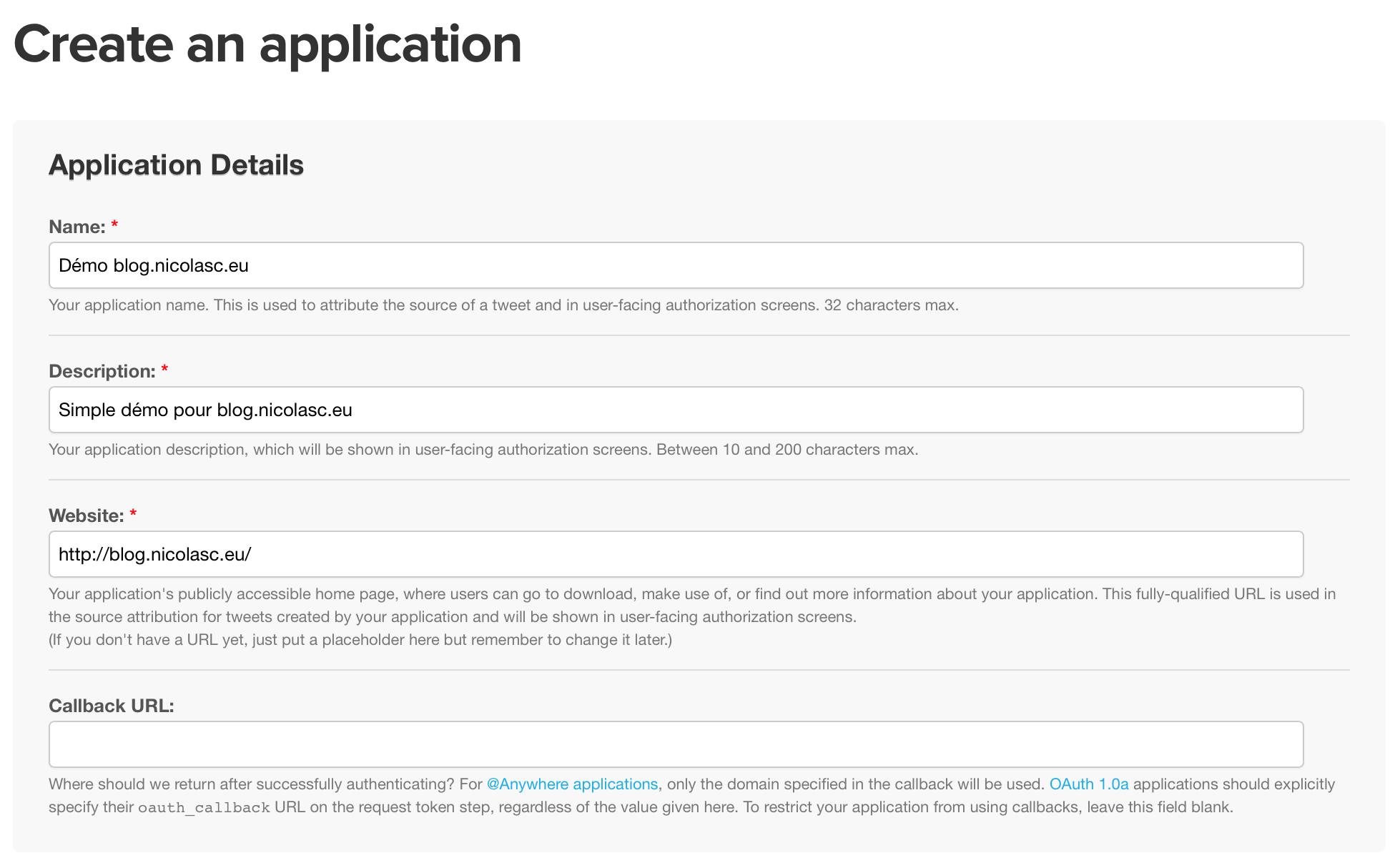 Page de création d'une nouvelle application Twitter