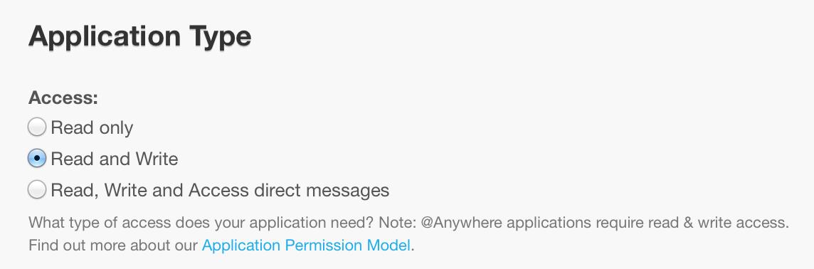 Paramétrage du type d'application
