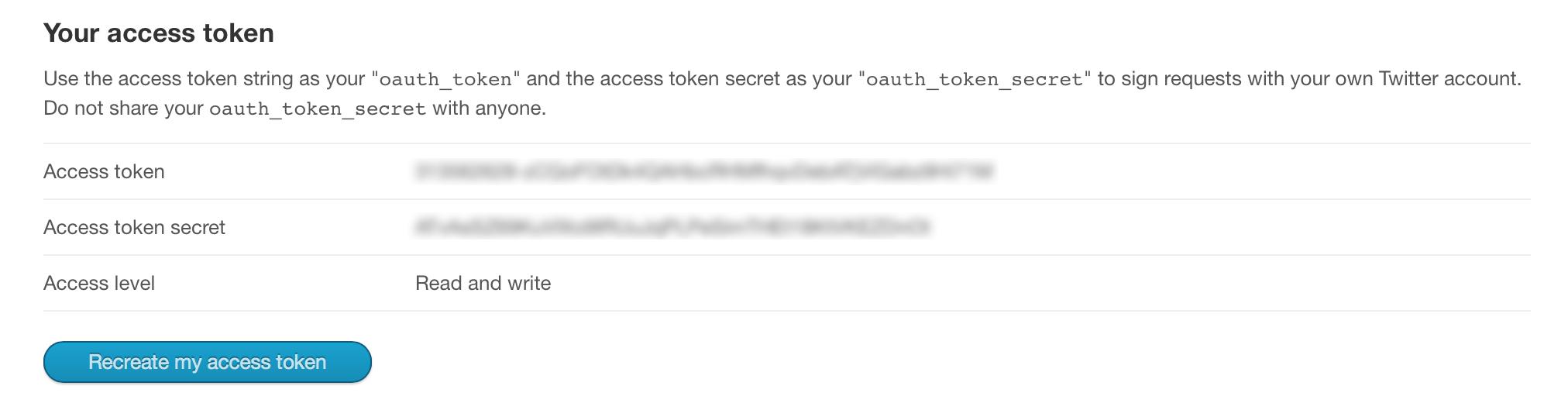 Création d'un Access token